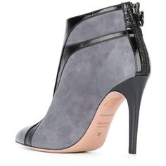 Francesca Mambrini ankle boots ($575) ❤ liked on Polyvore featuring shoes, boots, ankle booties, leather ankle boots, short boots, grey leather booties, leather booties and gray booties