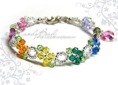 Rainbow Swarovski Crystal Bracelet Sweet rainbow by by candybead,