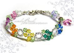 Rainbow Swarovski Crystal Bracelet Sweet rainbow by by candybead,