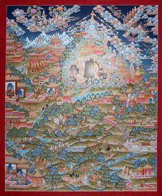 Life H, ein Traumthangkas - Thangka GL11: an unsurpassable painting of Buddha´s Life history / eine unuebertreffliche Darstellung von Buddhas Lebenslauf . Wertvolle buddhistische Thangkas, Statuen und Mandalas. Marvelous buddhist Statues, Mandala and Thangka from Snow Lion.