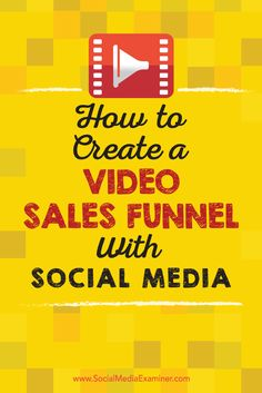 Do you use social media to generate revenue? Serving social media video at the proper time can help a person go from lead to customer in a few simple clicks. In this article, youll discover how to use social media video to support your sales funnel. Inbound Marketing, Marketing Plan, Sales And Marketing, Marketing Digital, Business Marketing, Content Marketing, Online Marketing, Social Media Marketing, Marketing Strategies