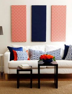 20 Easy DIY Art Projects for Your Walls: Possible living room Living Room Red, Living Room Decor, Diy Wand, Estilo Navy, Magazine Deco, Muebles Living, Boutique Deco, Diy Art Projects, Creative Walls