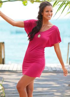 Beachtime Pink Batwing Summer Dress - swimwear365.com
