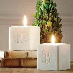 Made in Vermont of unscented soy and palm oils, with a cotton wick for a slow, steady burn. | Bartlett Candle, 3 Initial | @birchlane