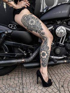 100 Traditional Mandala Tattoo Designs For Art Lovers Full Leg Tattoos, Sleeve Tattoos For Women, Great Tattoos, Trendy Tattoos, Sexy Tattoos, Unique Tattoos, Beautiful Tattoos, Thigh Tattoos, Tattoo Girls