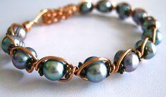 Metallic Gray Freshwater Pearls Wirewrapped in Copper Cuff | by Kick Rox Jewelry