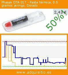 Phasak DTA 017 - Pasta térmica, 0.5 gramos jeringa, Dorado (Ordenadores personales). Baja 50%! Precio actual 2,43 €, el precio anterior fue de 4,83 €. https://www.adquisitio.es/phasak/dta-017-pasta-t%C3%A9rmica-05
