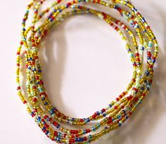 Waist Beads Women Wast Beads Yellow and Red Waist by AfrowearHouse #waistbeads