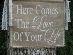 Burlap Here Comes The Bride Banner Rustic Wedding Sign on Etsy, $24.95