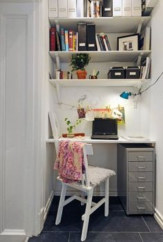 Use magazine files to otganize to give it uniformity.  Home Office In A Closet