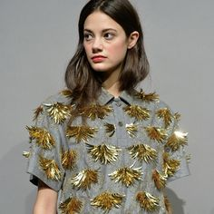 """Golden leaf embellishment is everything we want on a shirt right now, @jcrew #NYFW #aw15 presentation on model @anja_leuenberger"""