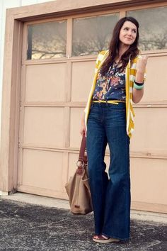 Wide leg jeans and mustard cardi