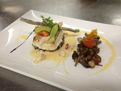 Earthy and coastal savoir-faire: Seared Chilean sea bass on a bed of chorizo-wild rice pilaf with baby vegetable tagliatelle, wild mushroom sautée, lobster beurre blanc and a dill crisp (rice paper)