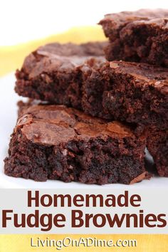 This tasty homemade fudge brownies recipe makes delicious and easy homemade brownies you can make using ingredients you already have at home! *** For more information, visit image link. Delicious Desserts, Dessert Recipes, Yummy Food, Homemade Fudge Brownies, Easy Brownies, Homemade Brownie Recipes, Making Brownies, Easy Homemade Cookies, Easy Homemade Desserts