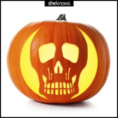 Skull Pumpkin Template: 31 pumpkin carving templates to help you wow the neighborhood. Printables over at @SheKnows