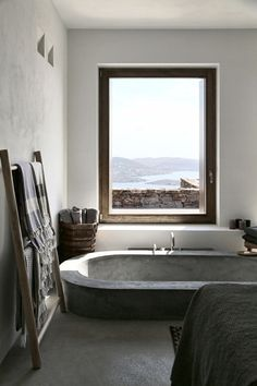 stunning bathroom with nature view summer house syros greece