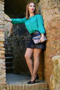 Fringed Skirt & animal print  www.cristystyle.com
