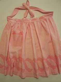 Pink gingham and embroidery vintage apron