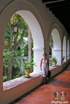 Spanky in Cartagena. There are so many hidden courtyards within the old mansions of the city, most with lush gardens and fountains. More on Cartagena: http://bbqboy.net/travel-tips-and-photo-essay-on-incredible-cartagena-colombia/  #Cartagena #Colombia #SouthAmerica