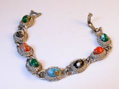 Ornate Boho Panel Cabochon Bracelet  Oval Multi Color Faux Stones  7 Inch by GemstoneCowboy on Etsy