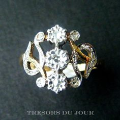 Antique Diamond Ring Edwardian Triple Diamond Engagement Ring in platinum and 18kt gold c. 1890 by TresorsDuJour