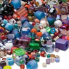 Seed bead mix, Matsuno� and Miyuki, glass, assorted colors and sizes, includes