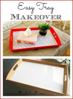 Easy diy mod podge project - tray makeover / I like the red base Modge Podge Projects, Easy Craft Projects, Easy Crafts, Easy Diy, Rope Crafts, Craft Ideas, Diy Mod Podge, Mod Podge Crafts, Style At Home