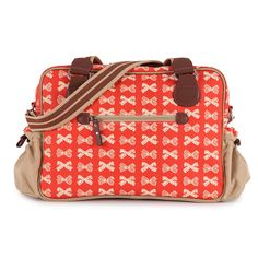 Not So Plain Jane Cream Bows On Red Changing Bag