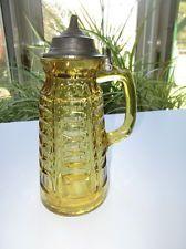 RARE EAPG AMBER GLASS HERCULES PILLAR SYRUP MOLASSES PITCHER JUG