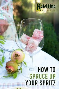 Fresh florals aren't just for Spring weddings. Make your Fall celebration cocktails extra special with gorgeous ice cubes. Simply add edible flowers to your cubes before freezing them.  Holiday Drinks, Party Drinks, Cocktail Drinks, Fun Drinks, Yummy Drinks, Cocktail Recipes, Alcoholic Drinks, Beverages, Cocktails