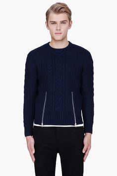 CARVEN navy wool zippered TWIST KNIT sweater