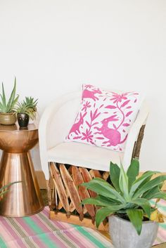 The Little Market Decor for Summer - Beijos Blog - Photo by Megan Welker  https://www.thelittlemarket.com/collections/new/products/tenango-embroidered-pillow-magenta