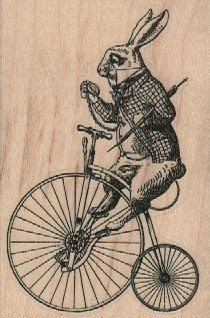 rubber stamp alice in Wonderland rabbit on Victorian bicycle, wood Mounted rubber stamp stamp number 18423
