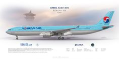 Airbus A330-300 Korean Air HL8027 | www.aviaposter.com | Airliners profile print | #airliners #aviation #jetliner #airplane #pilot #avia #airline