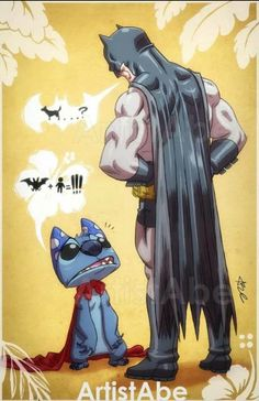 Batman vs Stitch, by ArtistAbe. I bet on Stitch, don't be fooled because he's fluffy.
