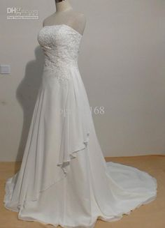Wholesale A-Line Wedding Dresses - Buy Real Photo A Line Floor Length Chiffon White Ivory Applique Beads Ball Wedding Bridal Gowns Dresses, $158.07 | DHgate