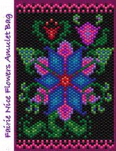 """These alluring """"fantasy flowers"""" exist only in my imagination and on this amulet bag (the bracelet and the earrings, too, ofcourse)! PDF includes full-color realistic Beadscape image of the amulet bag design, full-color, flat-mode Beadscape pattern with symbols, suggested Delica #s, bead counts and brief instructions on completion. 11 colors."""