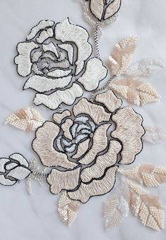 Hand Embroidered Motif Beaded rose appliqué with sumptuous image 2 Zardozi Embroidery, Bead Embroidery Patterns, Hand Embroidery Flowers, Couture Embroidery, Embroidery Fashion, Silk Ribbon Embroidery, Hand Embroidery Designs, Floral Embroidery, Embroidery Stitches