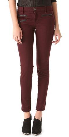 Burgandy zipper detailed jeans
