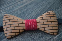 """End grain Wood bow tie, with """"Bright brick wall"""" efect Wooden Bow Tie, Fabric Ribbon, Types Of Wood, Brick Wall, Wall Design, Wax, Bright, Shapes, Unique"""