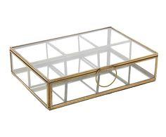 Caja compartimentada de cristal y latón - dorado