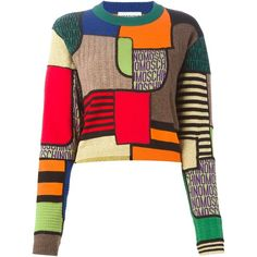 Moschino Geometric Intarsia Sweater ($430) ❤ liked on Polyvore featuring tops, sweaters, moschino, outerwear, black, crop top, colorful tops, cut-out crop tops, long sleeve tops and moschino top