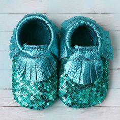 Turquoise Sequins Baby Moccasins by StitchesAndSoles on Etsy