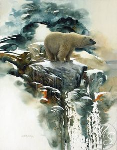 'Nomad of the Ice,' watercolor, Morten E. Solberg Sr. Of all the watercolors I've pinned so far, I think this is my favorite.