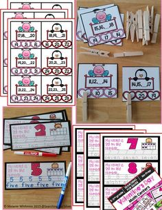 Number clip cards, number and number words write and wipe...and more Valentine's Day Math Centers!