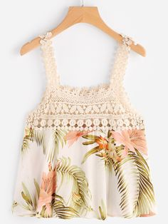 Shop Floral Print Contrast Crochet Lace Top online. SheIn offers Floral Print Contrast Crochet Lace Top & more to fit your fashionable needs.