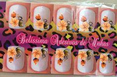 Adesivos para Unhas - Belíssima: Adesivos de Unha: degradê com flor laranja