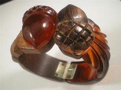 1930's Deep Carved Apple Juice Bakelite Wood Hinged Bangle Acorn Bracelet