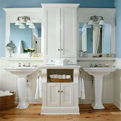 craftsman style bathrooms | Bathrooms in Pale Blue and White | Panda's House