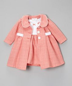 Peach & White Bow Bouclé Dress & Swing Coat - Infant & Toddler by Gerson & Gerson #zulily #zulilyfinds
